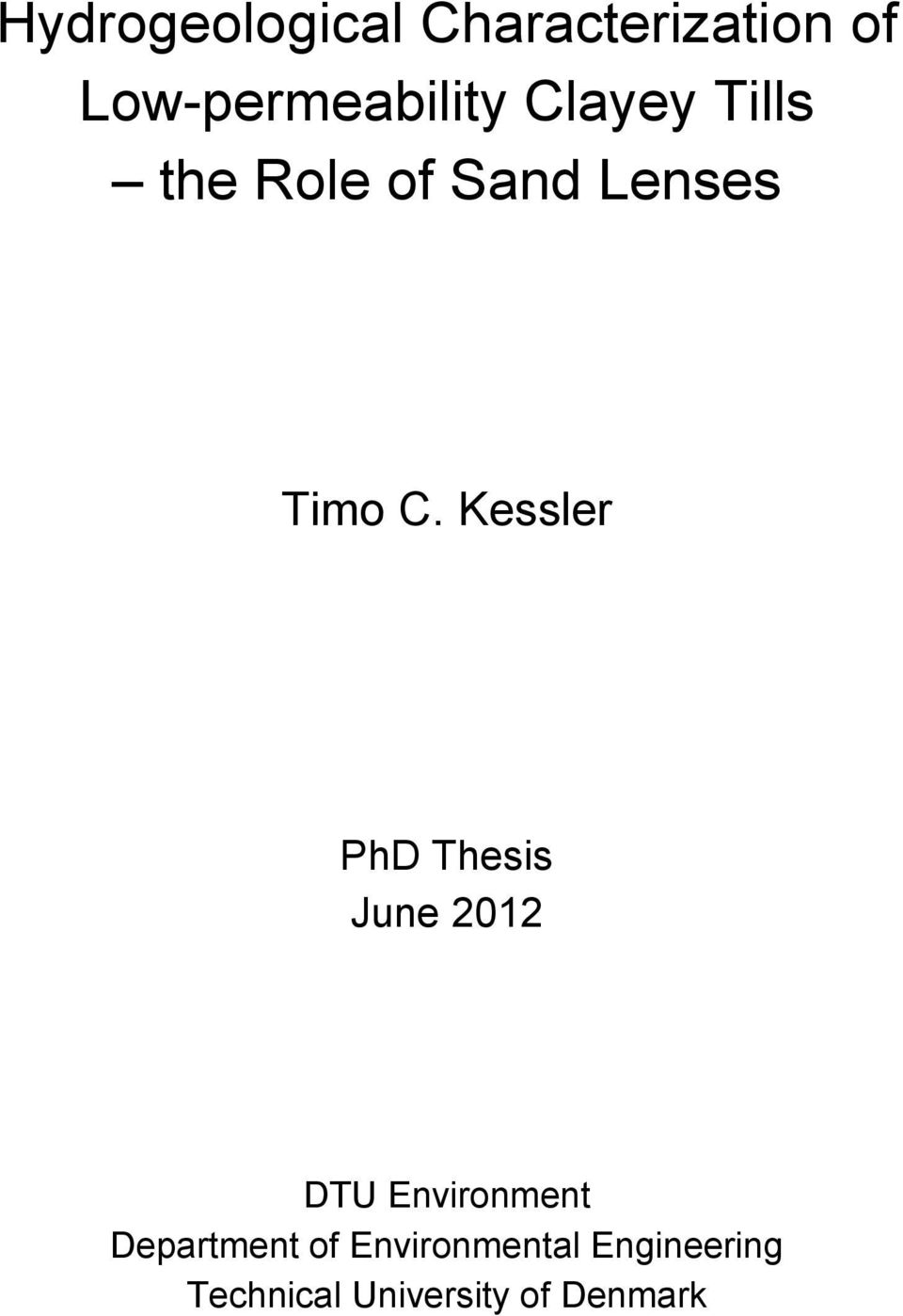 Kessler PhD Thesis June 2012 DTU Environment