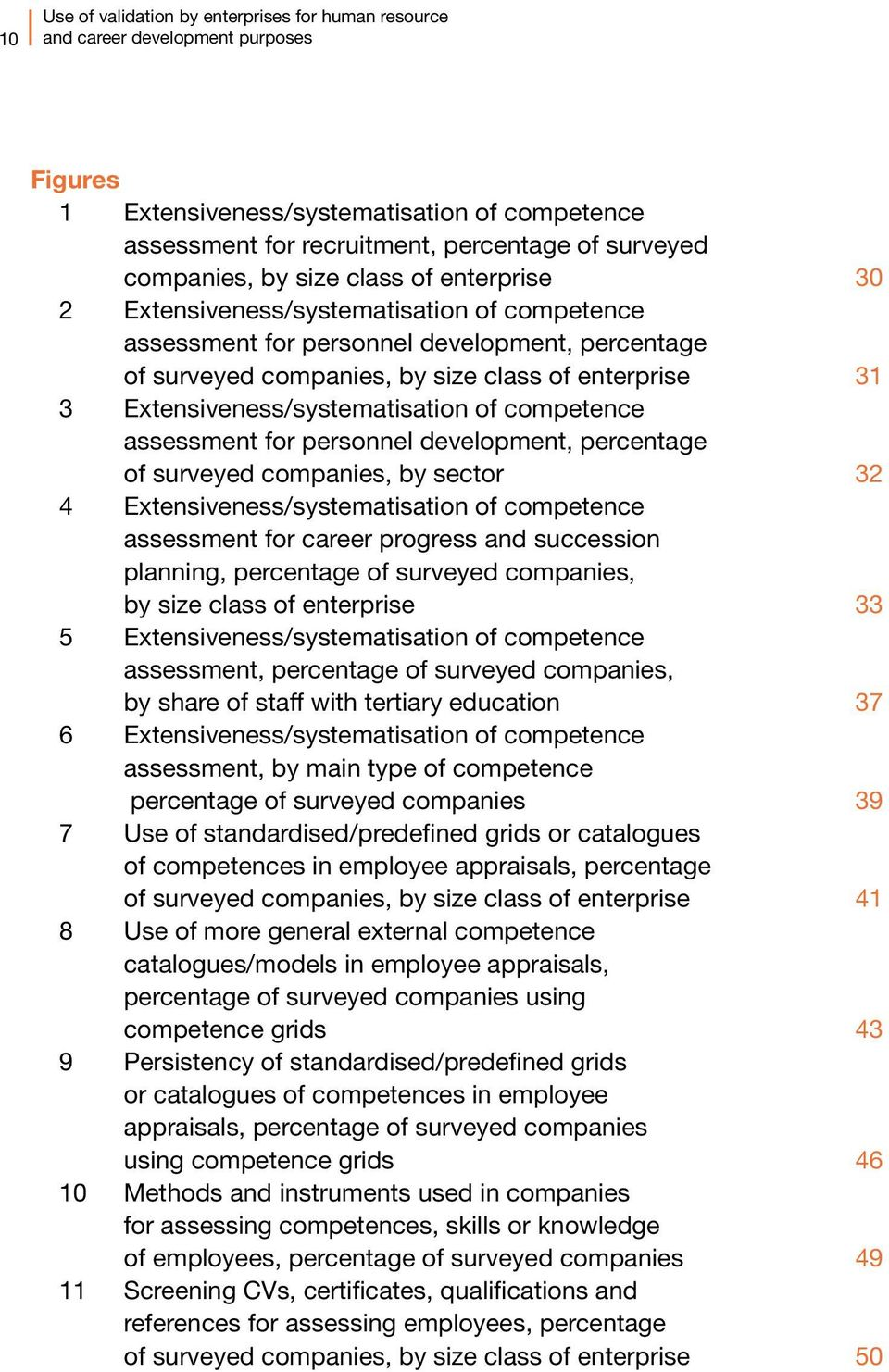 Extensiveness/systematisation of competence assessment for personnel development, percentage of surveyed companies, by sector 32 4 Extensiveness/systematisation of competence assessment for career