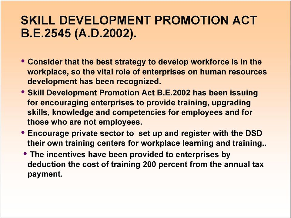 Skill Development Promotion Act B.E.