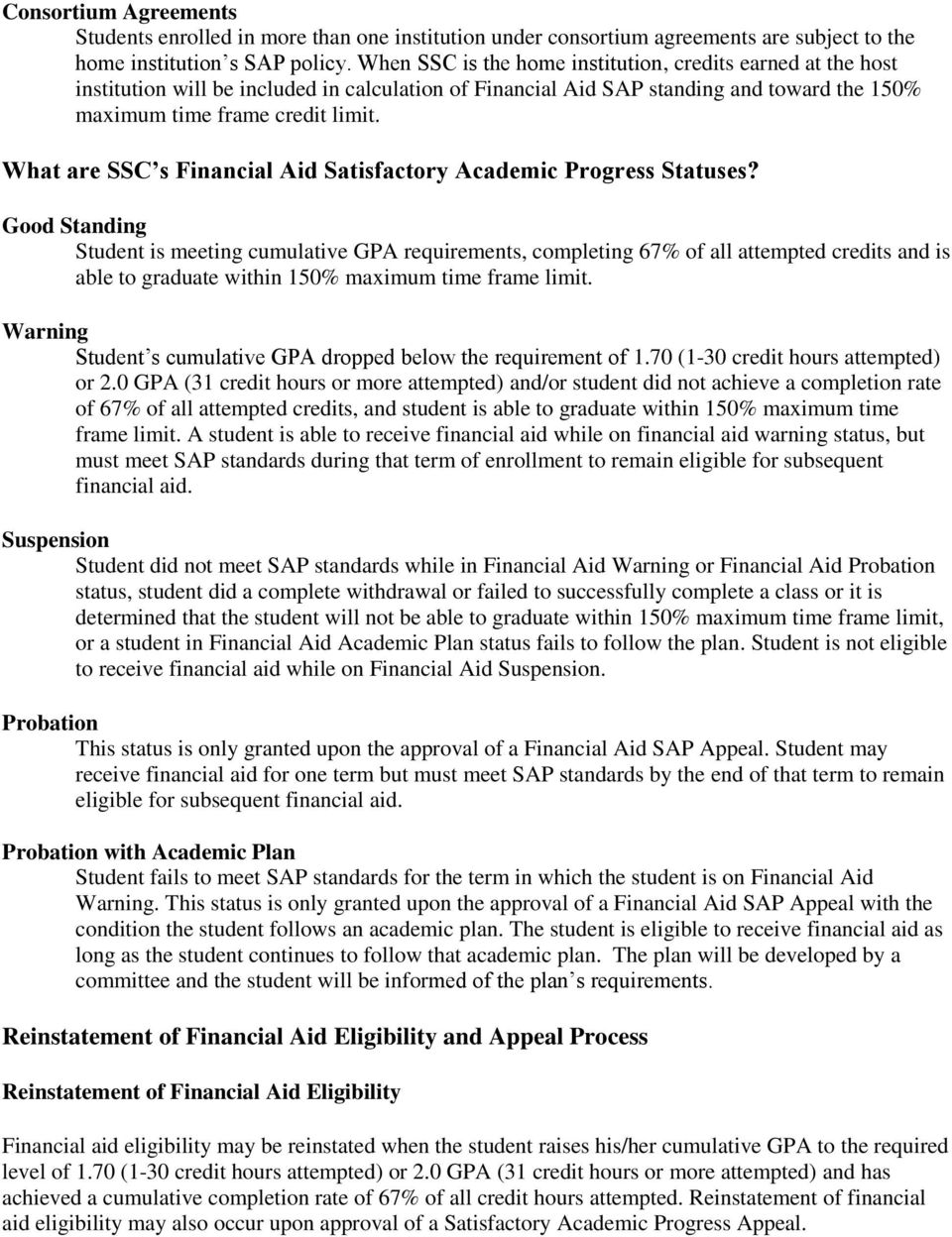 What are SSC s Financial Aid Satisfactory Academic Progress Statuses?