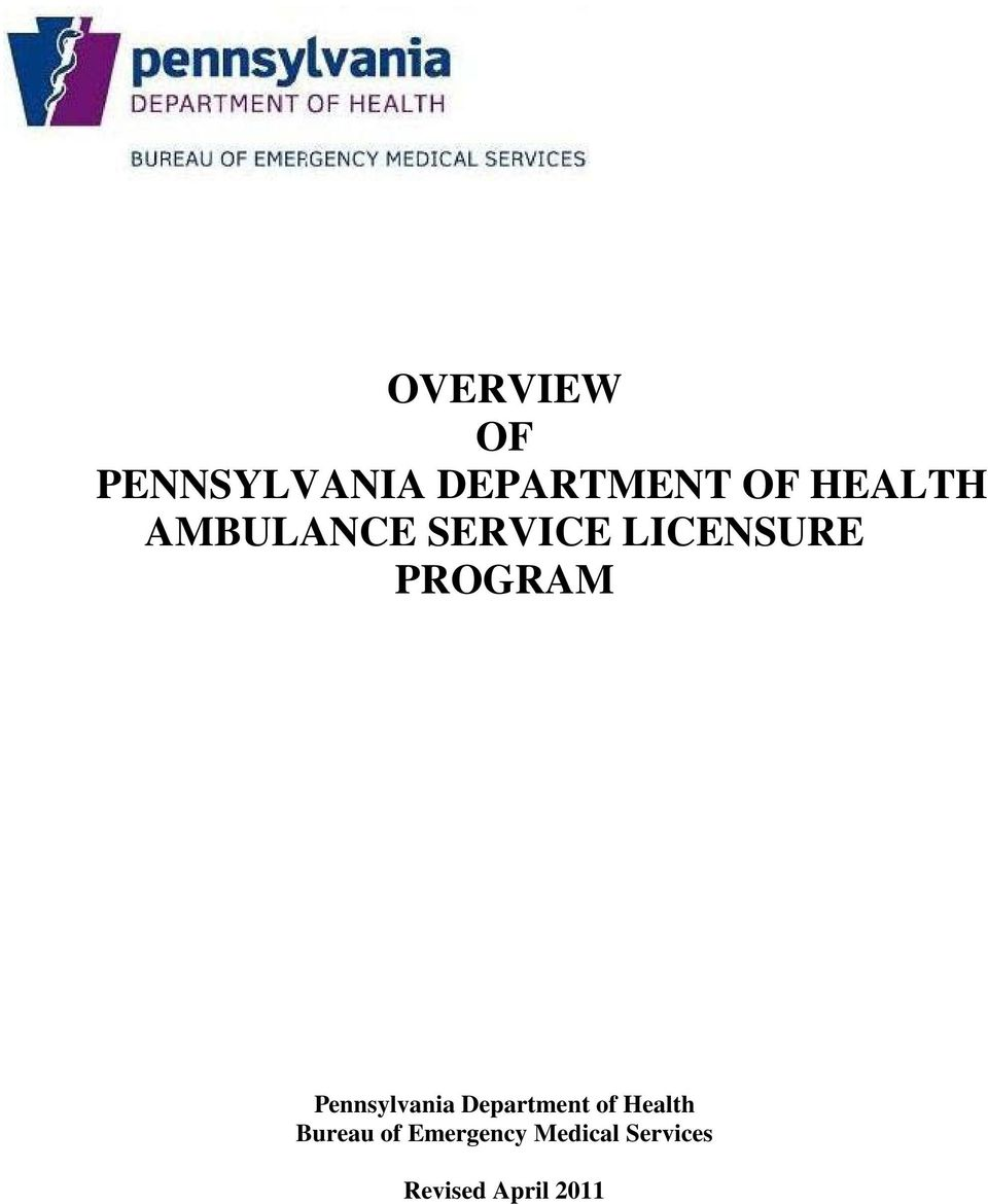 PROGRAM Pennsylvania Department of