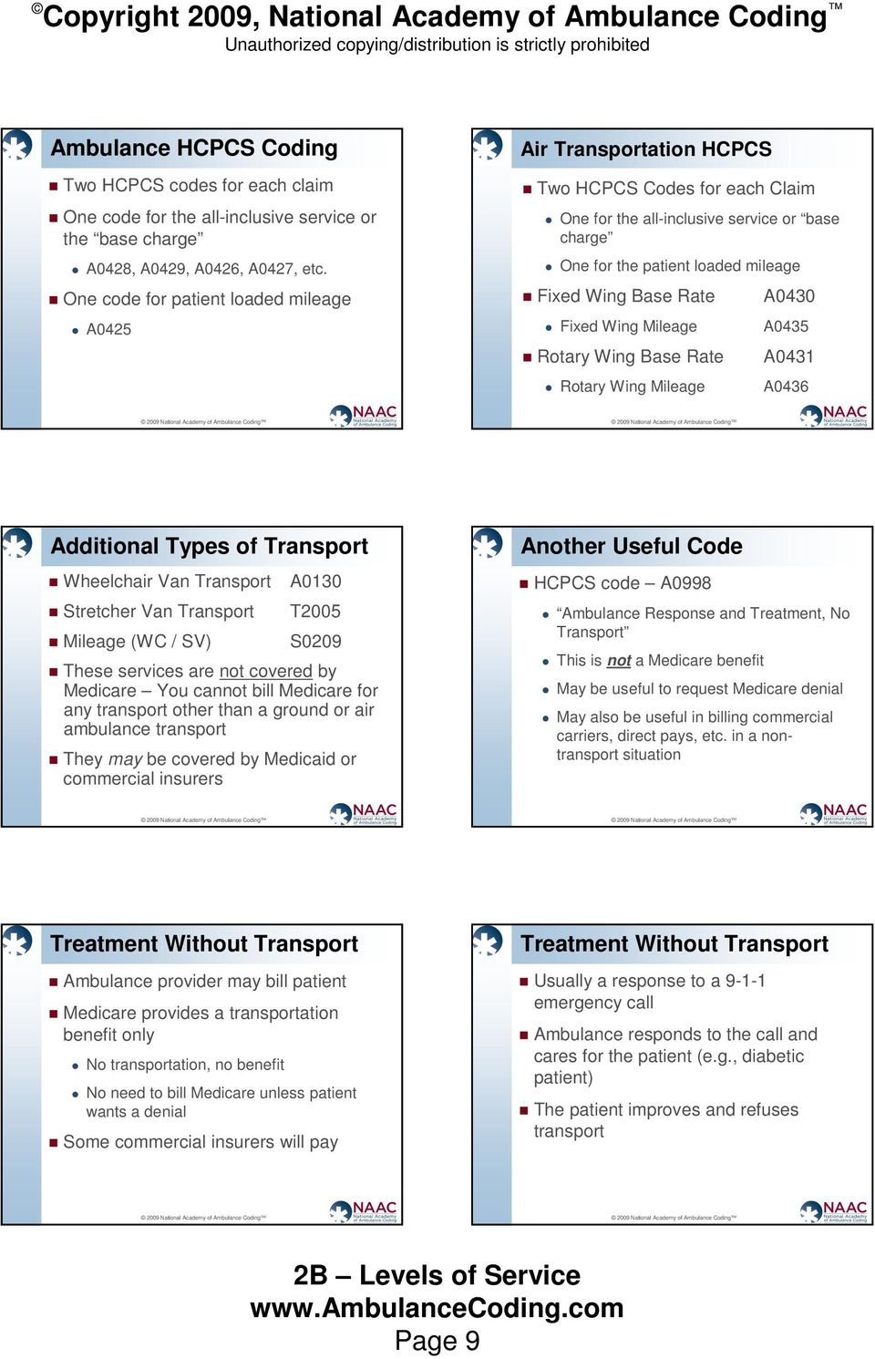 Rate Fixed Wing Mileage Rotary Wing Base Rate Rotary Wing Mileage A0430 A0435 A0431 A0436 Additional Types of Transport Wheelchair Van Transport Stretcher Van Transport Mileage (WC / SV) A0130 T2005