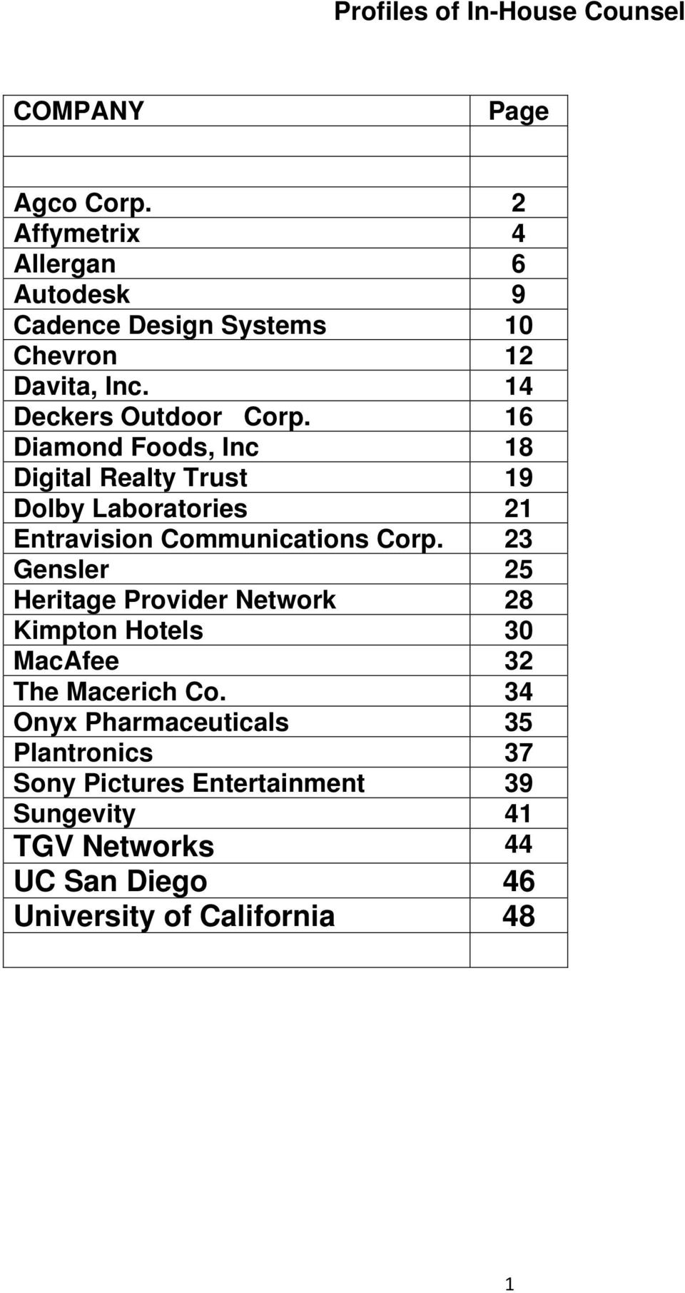 16 Diamond Foods, Inc 18 Digital Realty Trust 19 Dolby Laboratories 21 Entravision Communications Corp.