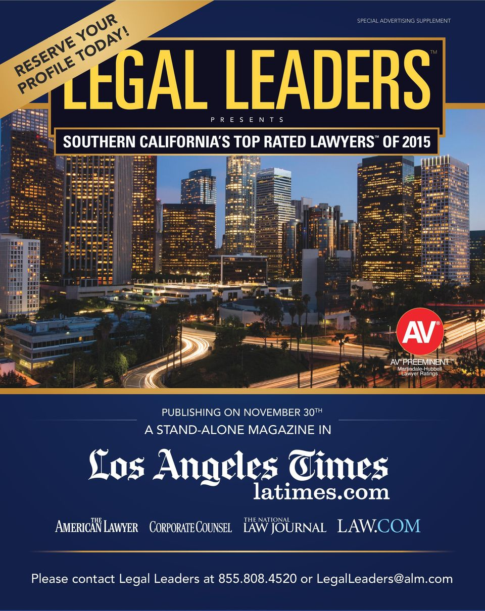 S SOUTHERN CALIFORNIA S TOP RATED LAWYERS OF 2015