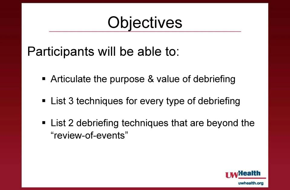 3 techniques for every type of debriefing List 2