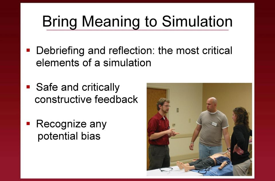 elements of a simulation Safe and