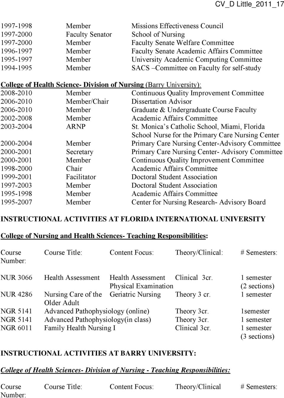 University): 2008-2010 Member Continuous Quality Improvement Committee 2006-2010 Member/Chair Dissertation Advisor 2006-2010 Member Graduate & Undergraduate Course Faculty 2002-2008 Member Academic