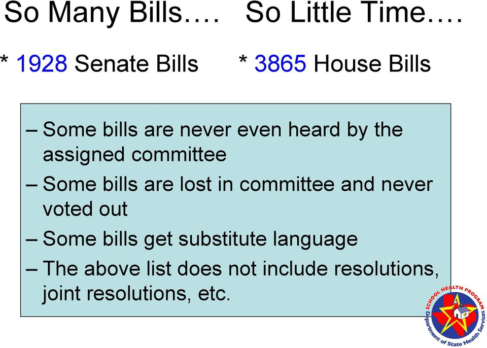 by the assigned committee Some bills are lost in committee and never