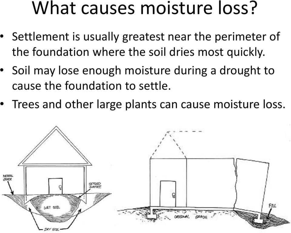 foundation where the soil dries most quickly.