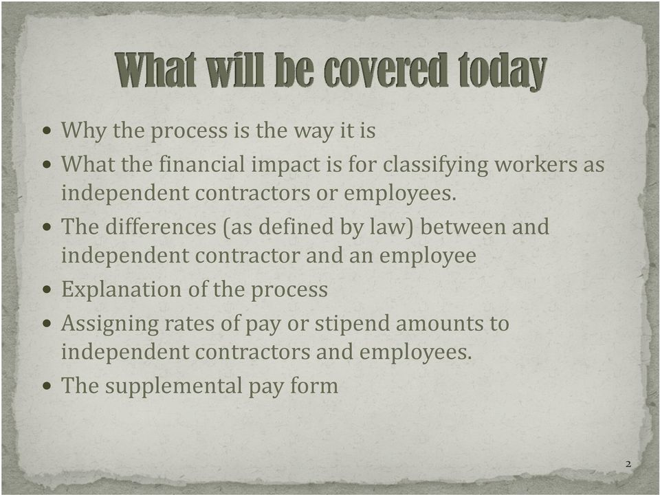 Independent Contractor vs  Employee (Annual Refresher Course