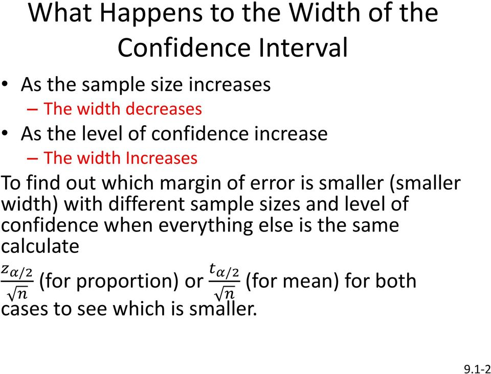 is smaller (smaller width) with different sample sizes and level of confidence when everything else