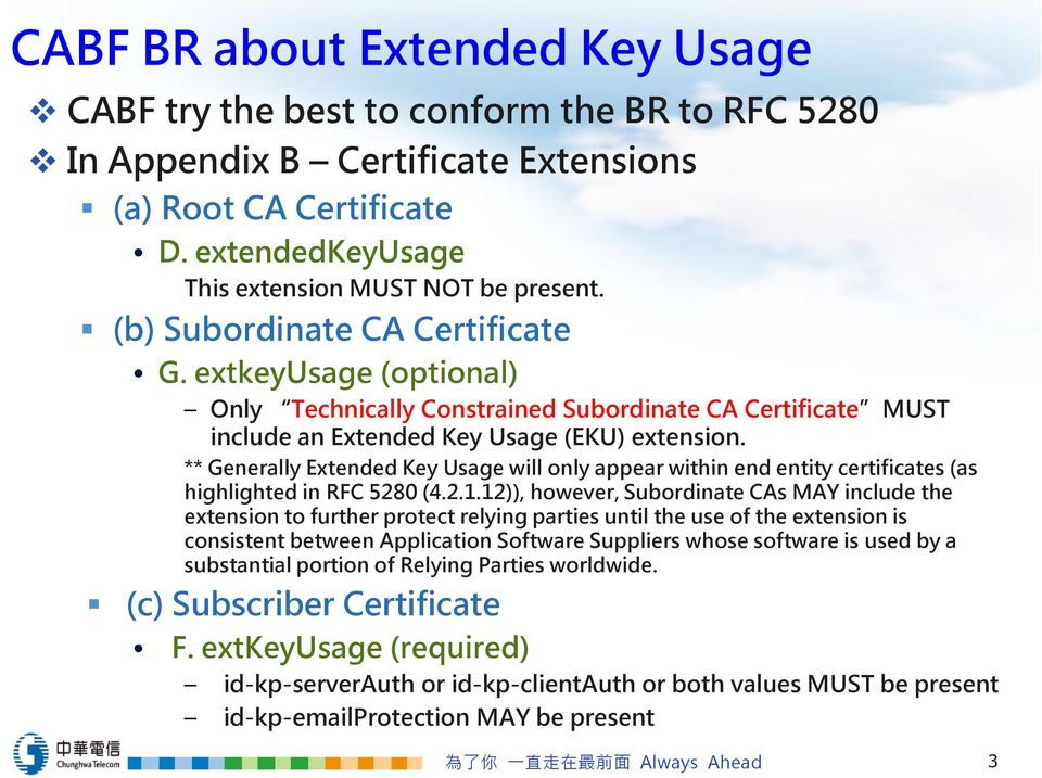 ** Generally Extended Key Usage will only appear within end entity certificates (as highlighted in RFC 5280 (4.2.1.