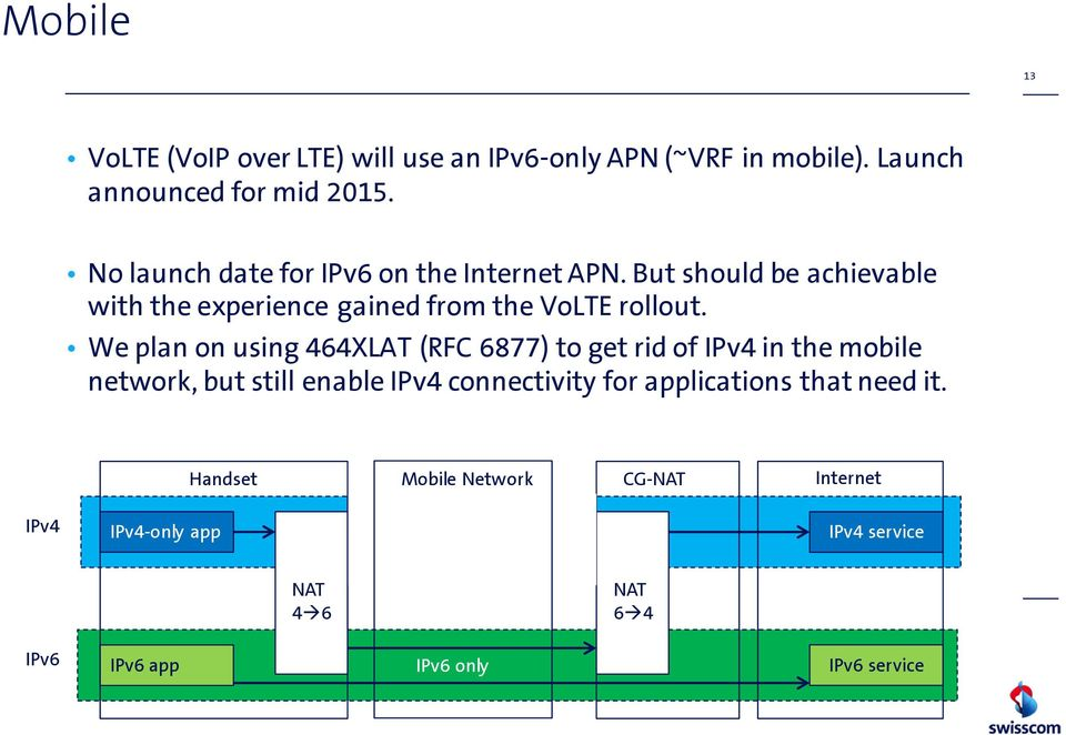 We plan on using 464XLAT (RFC 6877) to get rid of IPv4 in the mobile network, but still enable IPv4 connectivity for