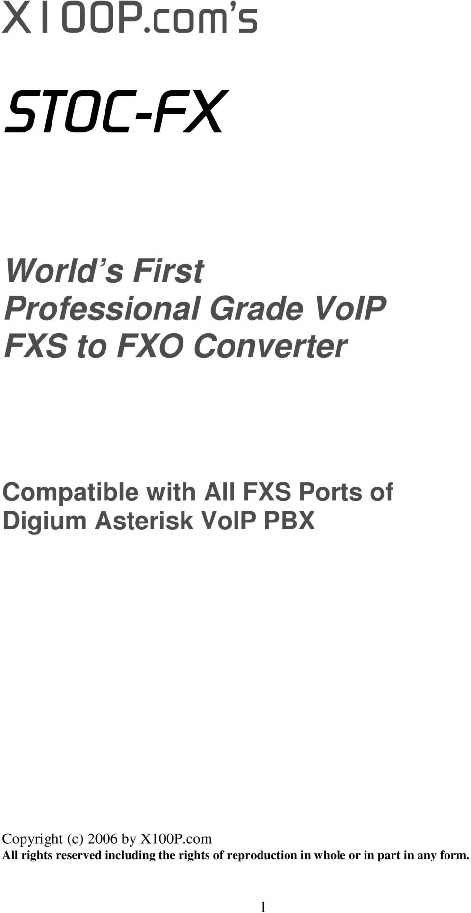 Converter Compatible with All FXS Ports of Digium Asterisk VoIP