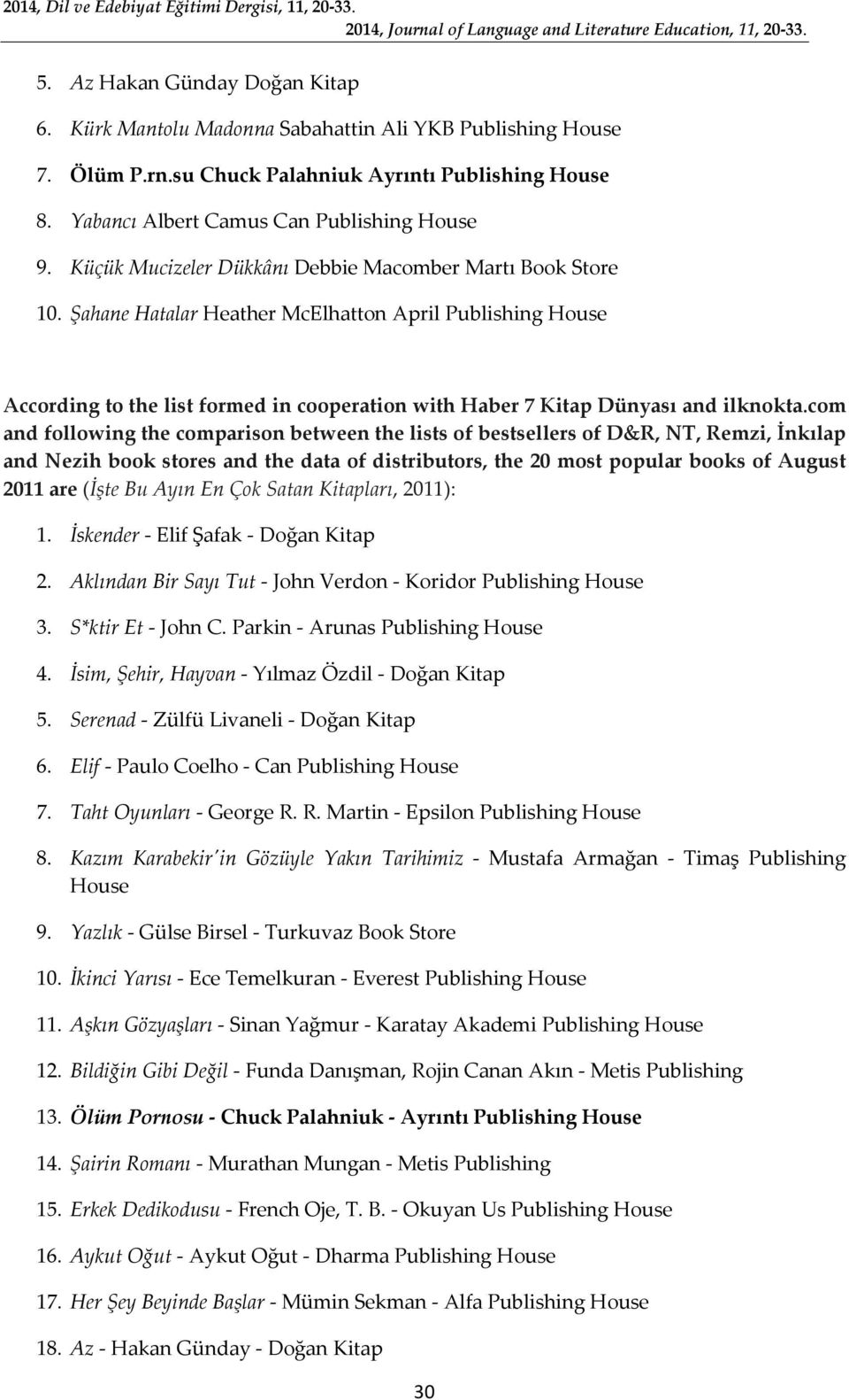 Şahane Hatalar Heather McElhatton April Publishing House According to the list formed in cooperation with Haber 7 Kitap Dünyası and ilknokta.