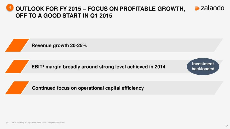 achieved in 2014 Investment backloaded Continued focus on operational