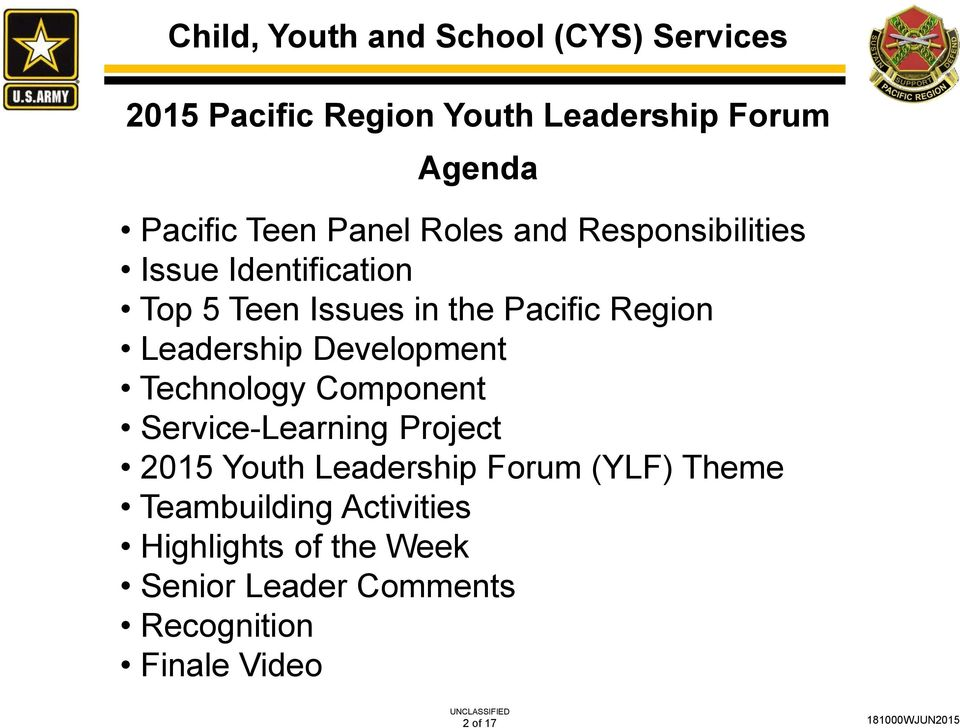 Leadership Development Technology Component Service-Learning Project 2015 Youth Leadership Forum