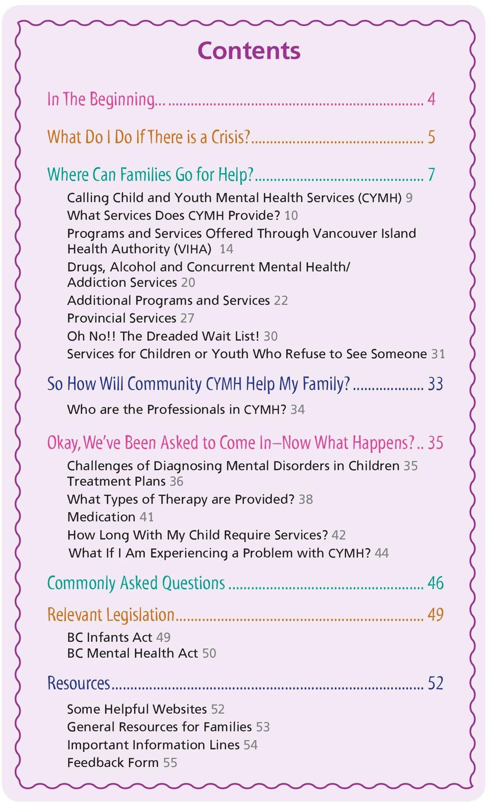 Services 27 Oh No!! The Dreaded Wait List! 30 Services for Children or Youth Who Refuse to See Someone 31 So How Will Community CYMH Help My Family?... 33 Who are the Professionals in CYMH?