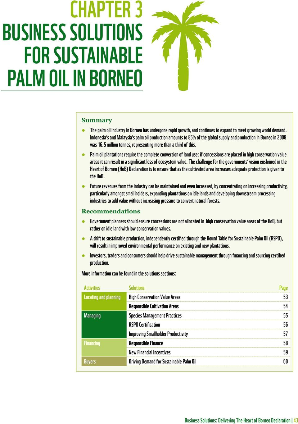 Palm oil plantations require the complete conversion of land use; if concessions are placed in high conservation value areas it can result in a significant loss of ecosystem value.