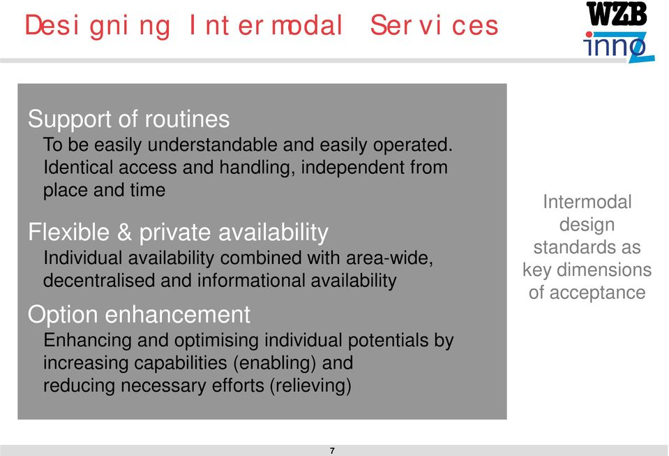 combined with area-wide, decentralised and informational availability Option enhancement Enhancing and optimising
