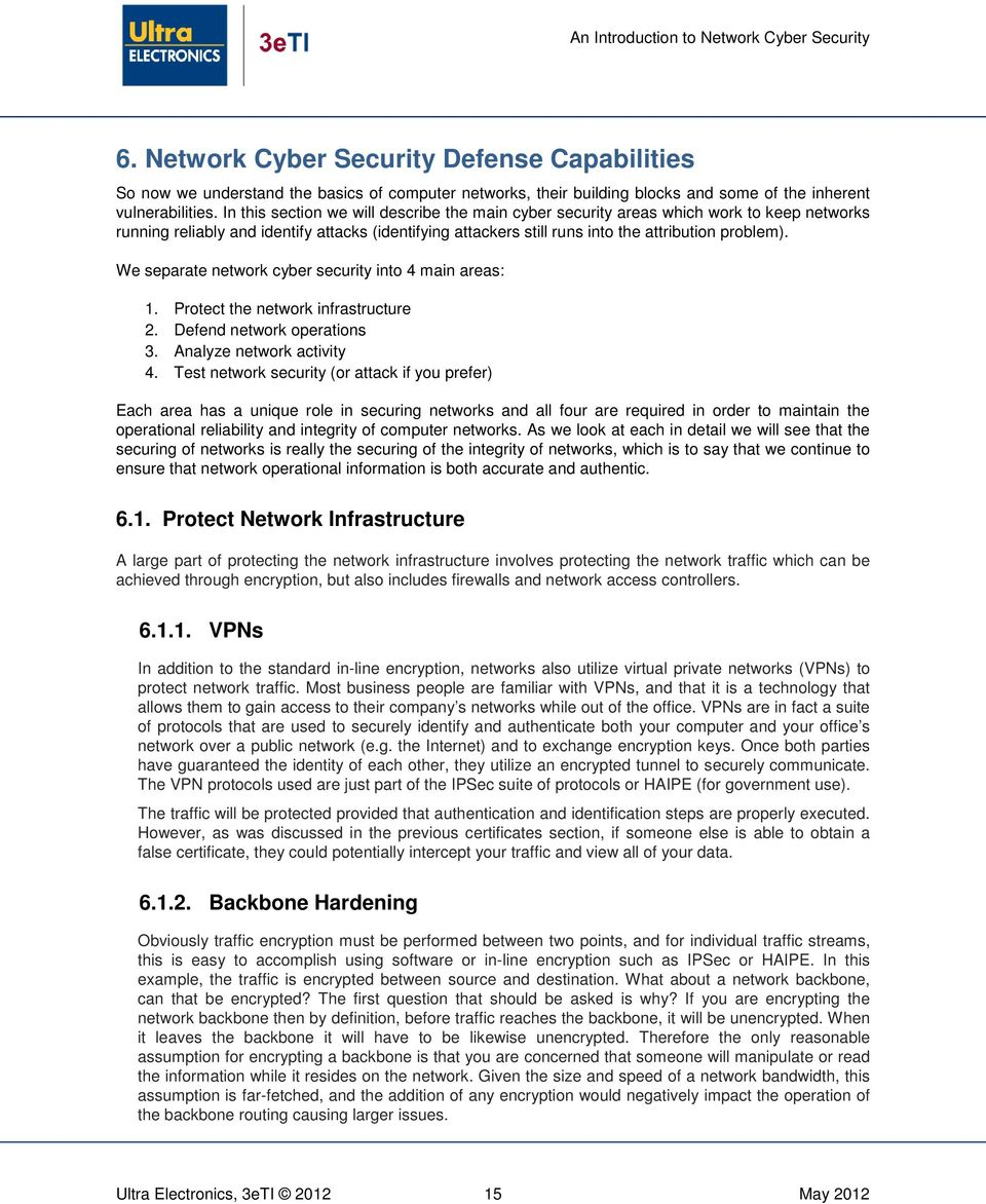 We separate network cyber security into 4 main areas: 1. Protect the network infrastructure 2. Defend network operations 3. Analyze network activity 4.