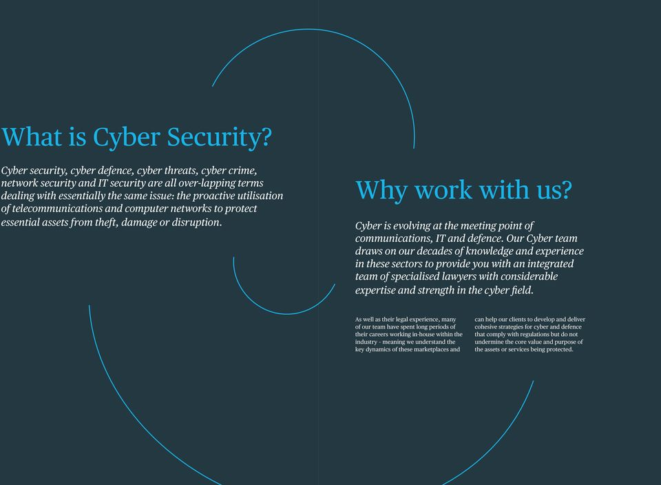 telecommunications and computer networks to protect essential assets from theft, damage or disruption. Why work with us? Cyber is evolving at the meeting point of communications, IT and defence.