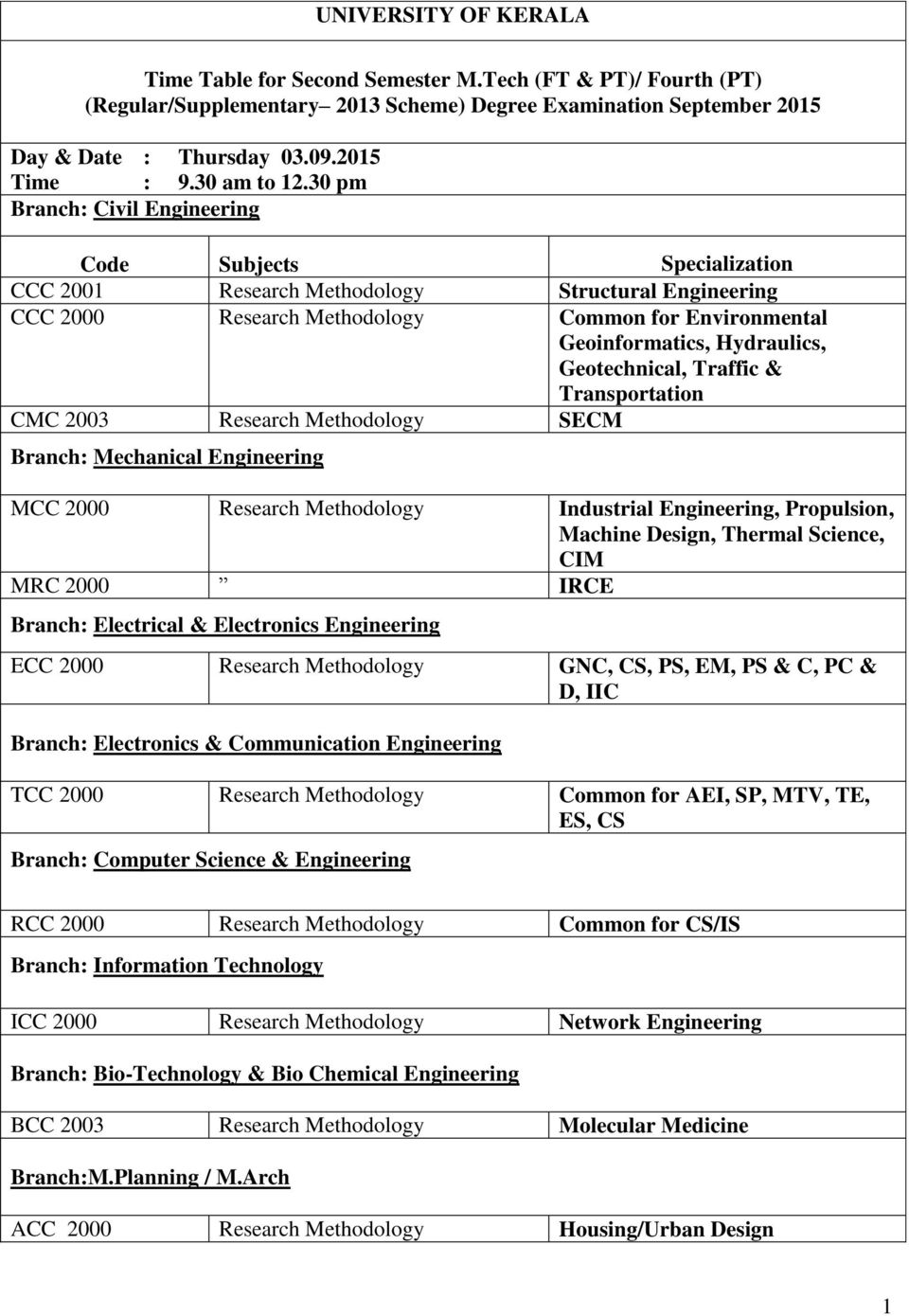 Geotechnical, Traffic & Transportation CMC 2003 Research Methodology SECM Branch: Mechanical Engineering MCC 2000 Research Methodology Industrial Engineering, Propulsion, Machine Design, Thermal