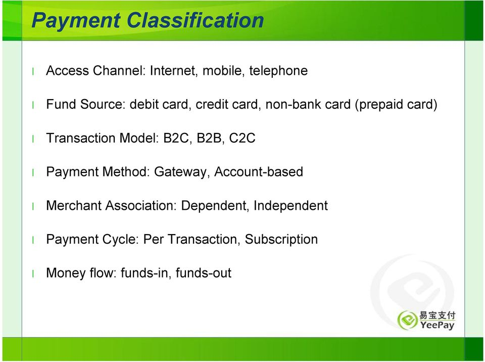 B2B, C2C Payment Method: Gateway, Account-based Merchant Association: Dependent,