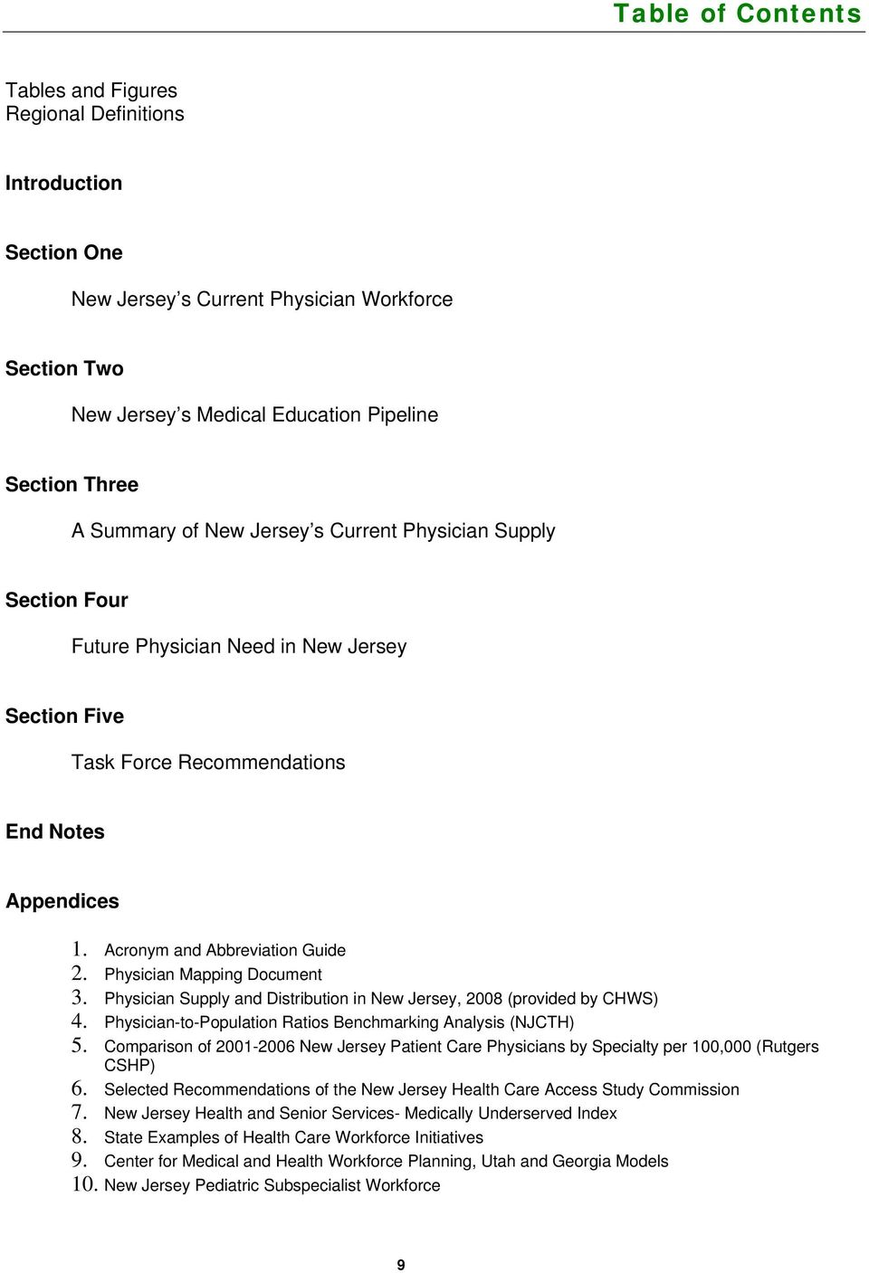 Physician Mapping Document 3. Physician Supply and Distribution in New Jersey, 2008 (provided by CHWS) 4. Physician-to-Population Ratios Benchmarking Analysis (NJCTH) 5.