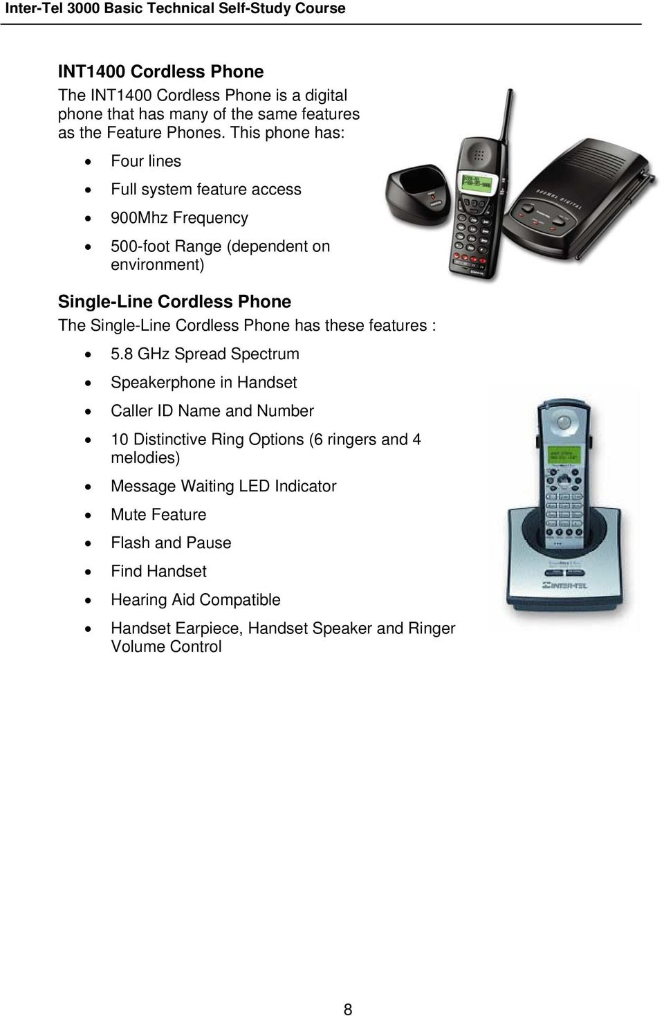 Single-Line Cordless Phone has these features : 5.