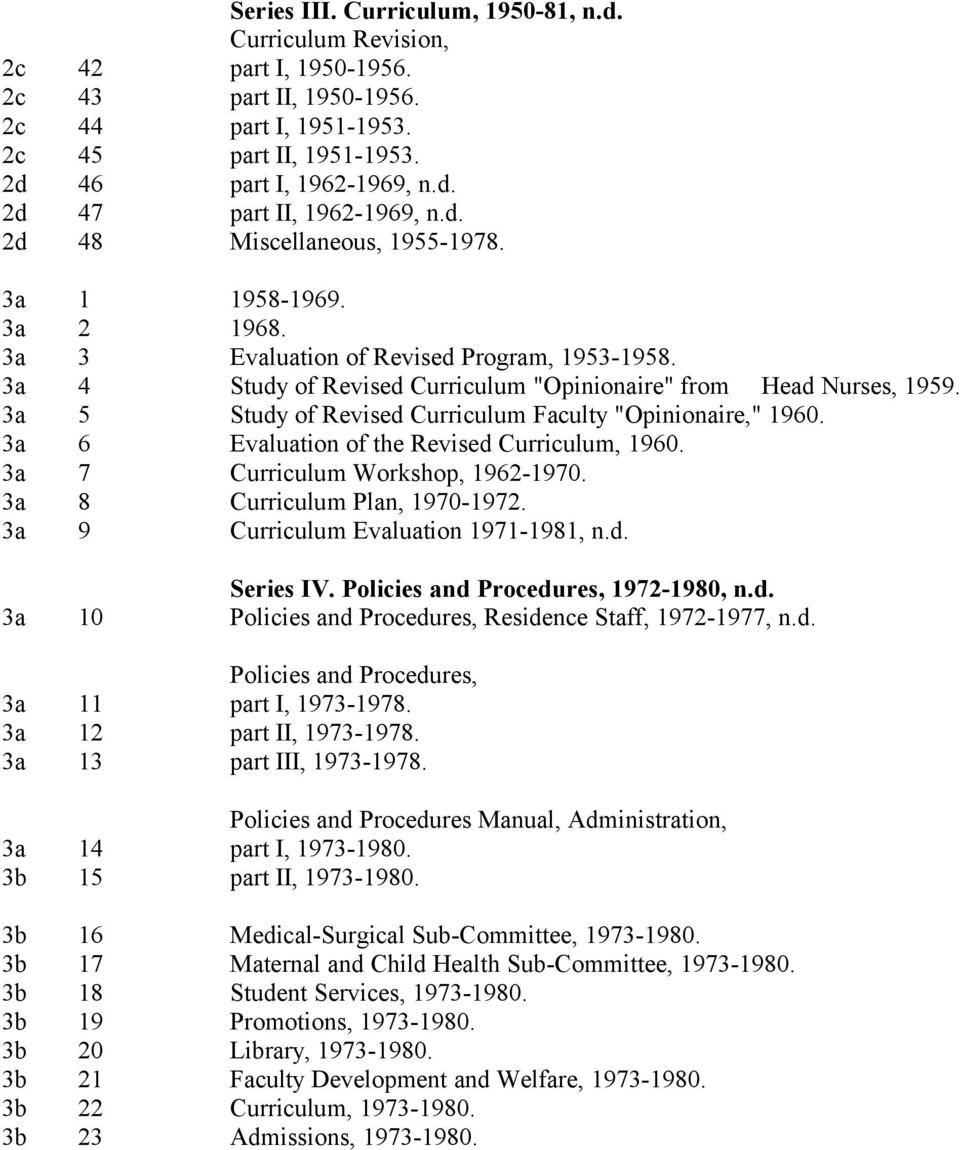 "3a 5 Study of Revised Curriculum Faculty ""Opinionaire,"" 1960. 3a 6 Evaluation of the Revised Curriculum, 1960. 3a 7 Curriculum Workshop, 1962-1970. 3a 8 Curriculum Plan, 1970-1972."