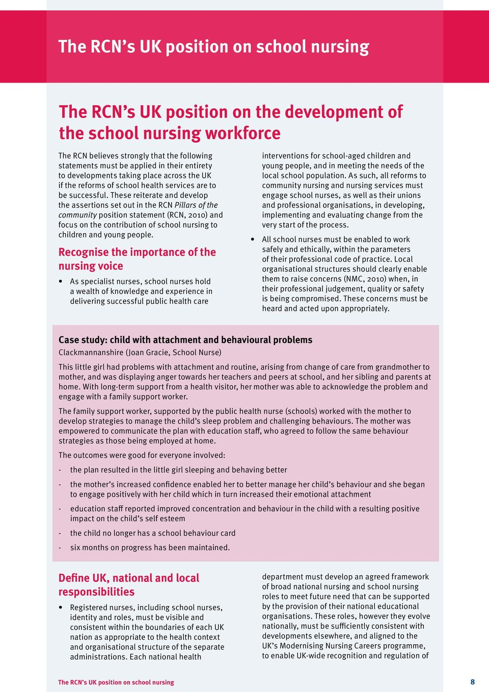 These reiterate and develop the assertions set out in the RCN Pillars of the community position statement (RCN, 2010) and focus on the contribution of school nursing to children and young people.