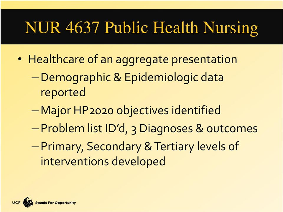 HP2020 objectives identified Problem list ID d, 3 Diagnoses &