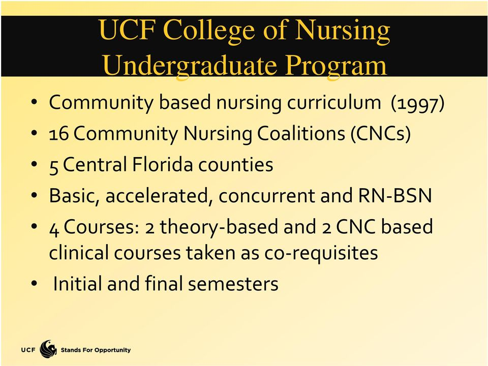 counties Basic, accelerated, concurrent and RN BSN 4 Courses: 2 theory