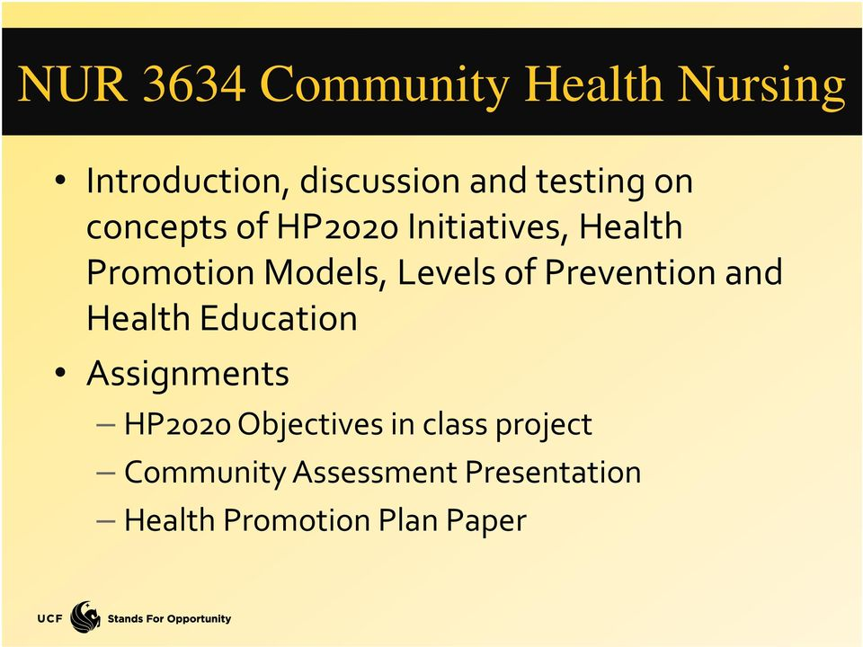 Prevention and Health Education Assignments HP2020 Objectives in class