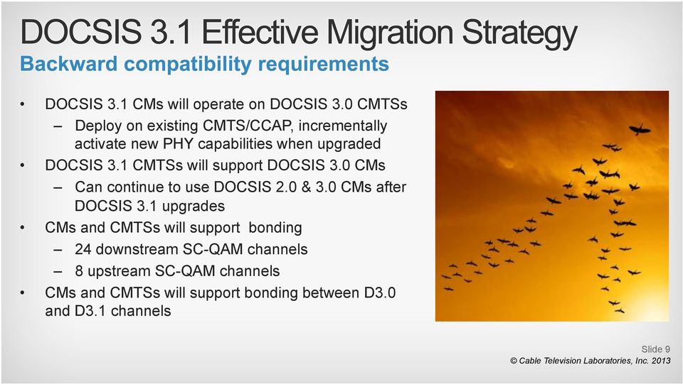 3.1 CMTSs will support DOCSIS 3.0 CMs Can continue to use DOCSIS 2.0 & 3.0 CMs after DOCSIS 3.