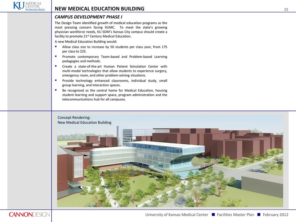 A new Medical Education Building would: Allow class size to increase by 50 students per class year, from 175 per class to 225.