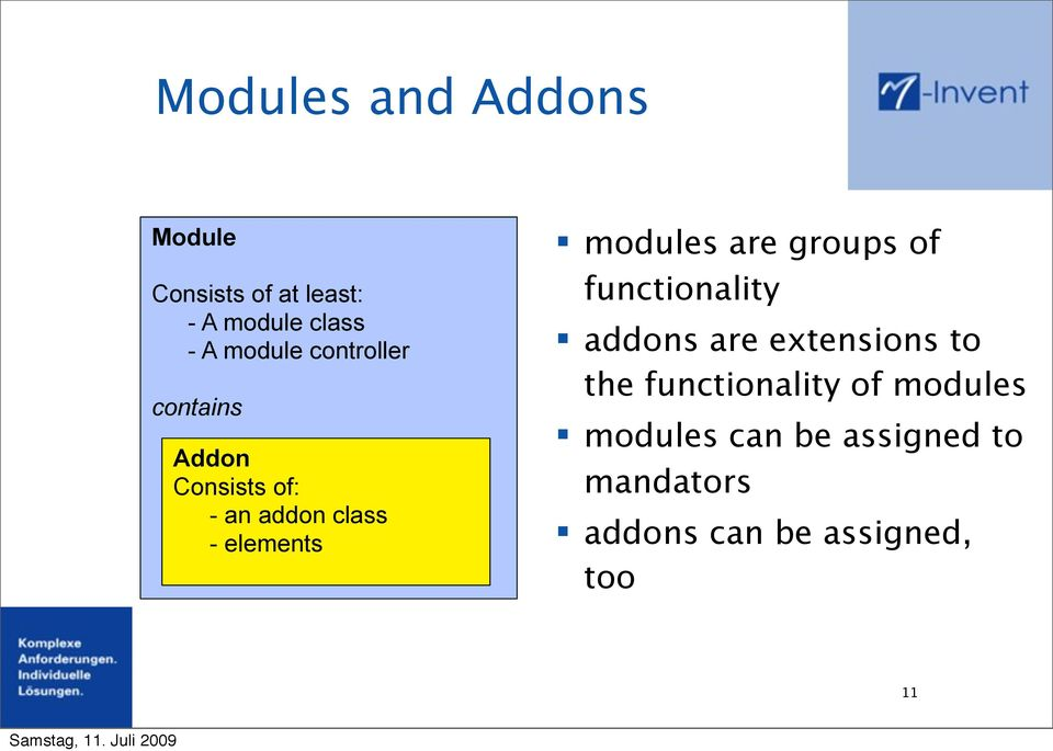 modules are groups of functionality addons are extensions to the