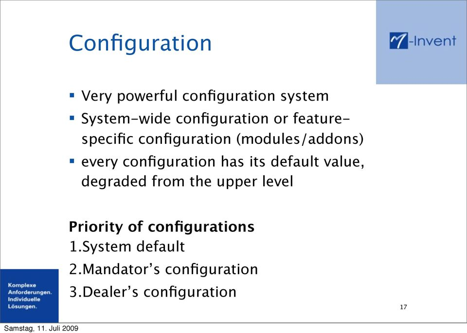 configuration has its default value, degraded from the upper level
