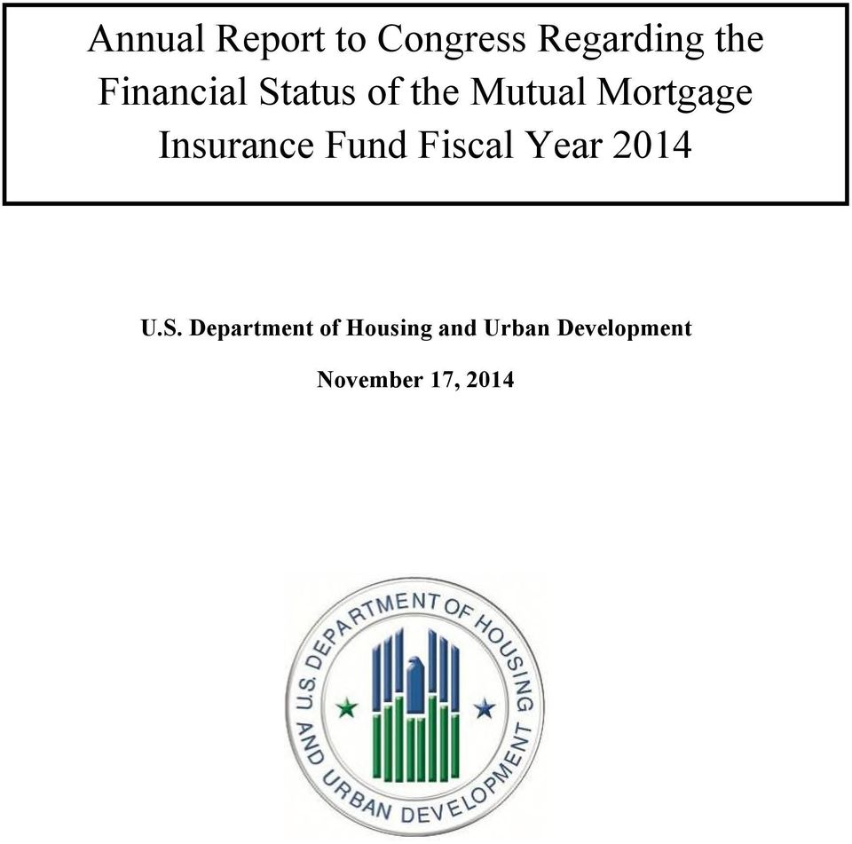 Insurance Fund Fiscal Year 2014 U.S.