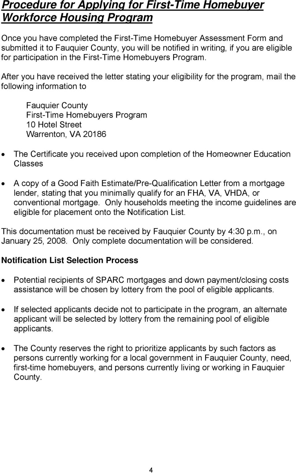 FAUQUIER COUNTY FIRSTTIME HOMEBUYER PROGRAM PDF – Good Faith Payment Letter
