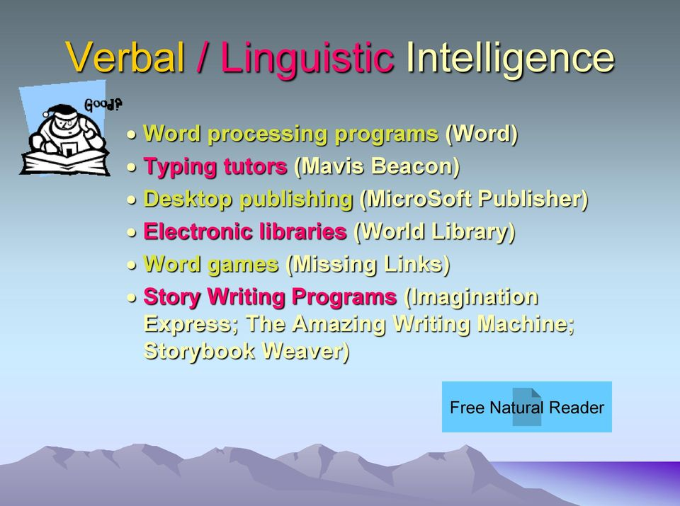 libraries (World Library) Word games (Missing Links) Story Writing Programs
