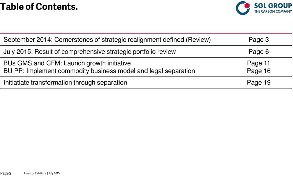 Result of comprehensive strategic portfolio review Page 6 BUs GMS and CFM: Launch growth