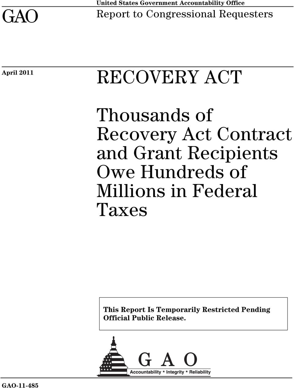 Act Contract and Grant Recipients Owe Hundreds of Millions in Federal