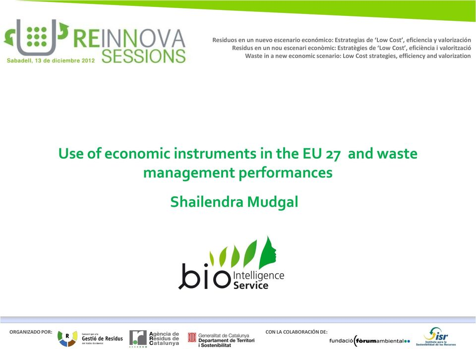 economic instruments in the EU 27 and waste