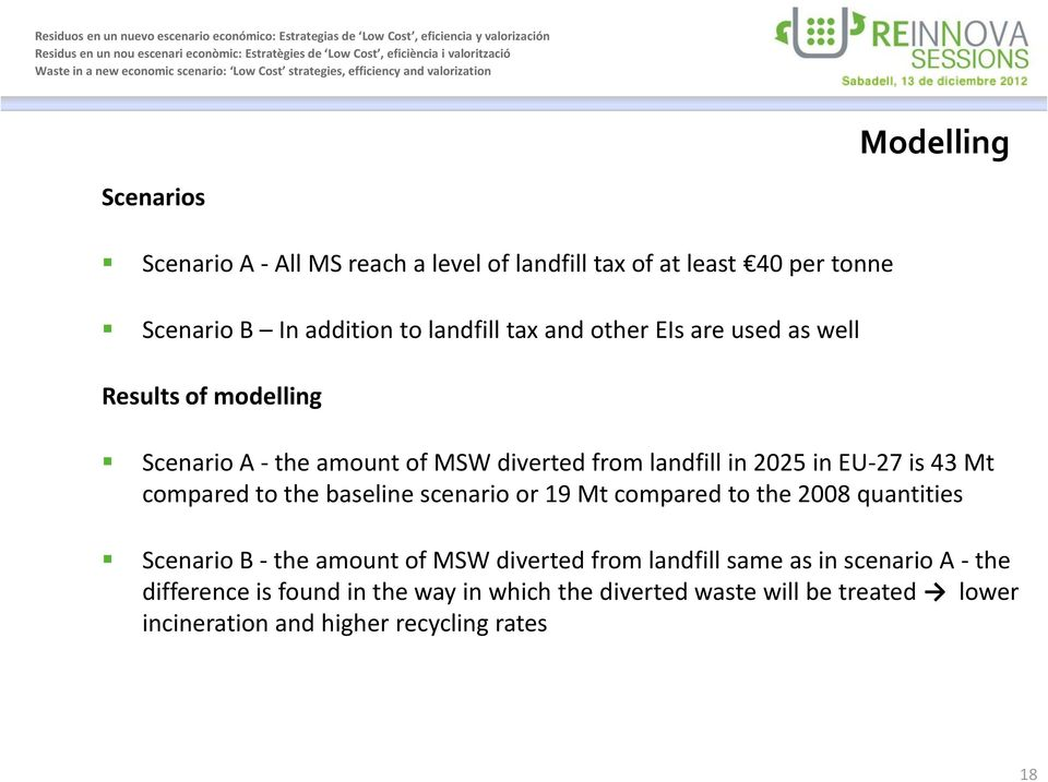 compared to the baseline scenario or 19 Mt compared to the 2008 quantities Scenario B - the amount of MSW diverted from landfill same as