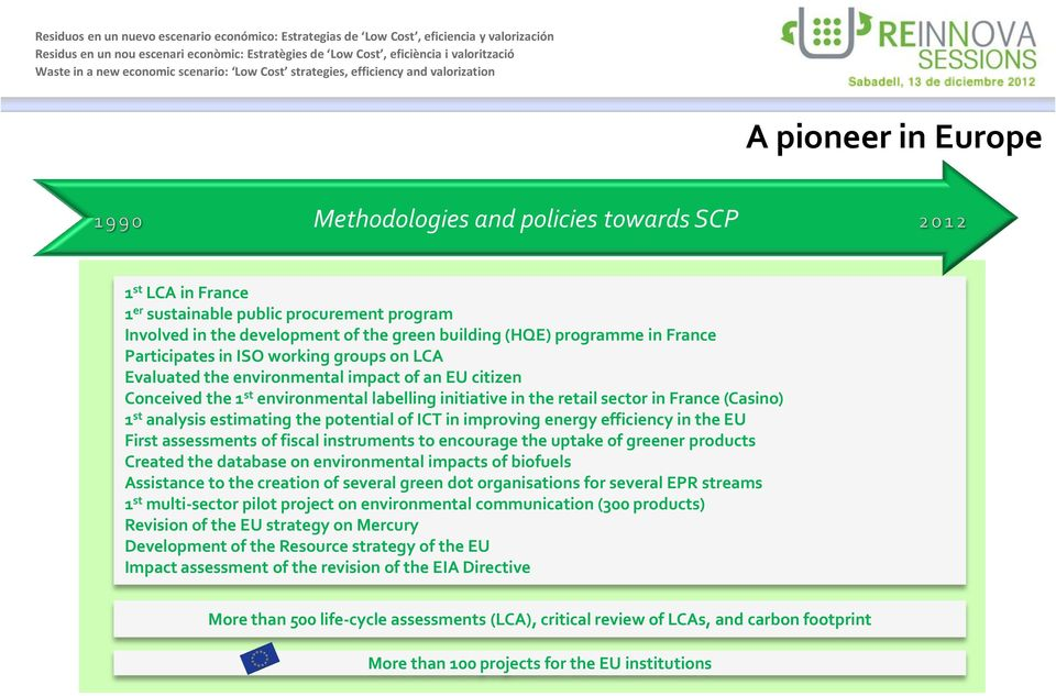 analysis estimating the potential of ICT in improving energy efficiency in the EU First assessments of fiscal instruments to encourage the uptake of greener products Created the database on