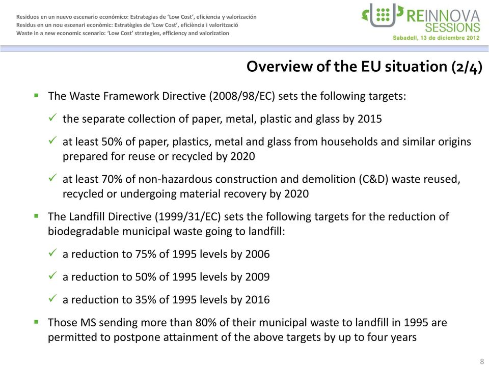 The Landfill Directive (1999/31/EC) sets the following targets for the reduction of biodegradable municipal waste going to landfill: a reduction to 75% of 1995 levels by 2006 a reduction to 50% of