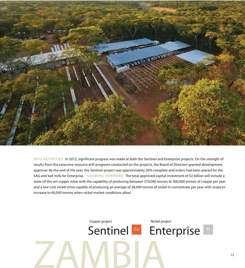 By the end of the year, the Sentinel project was approximately 20% complete and orders had been placed for the SAG and ball mills for Enterprise.