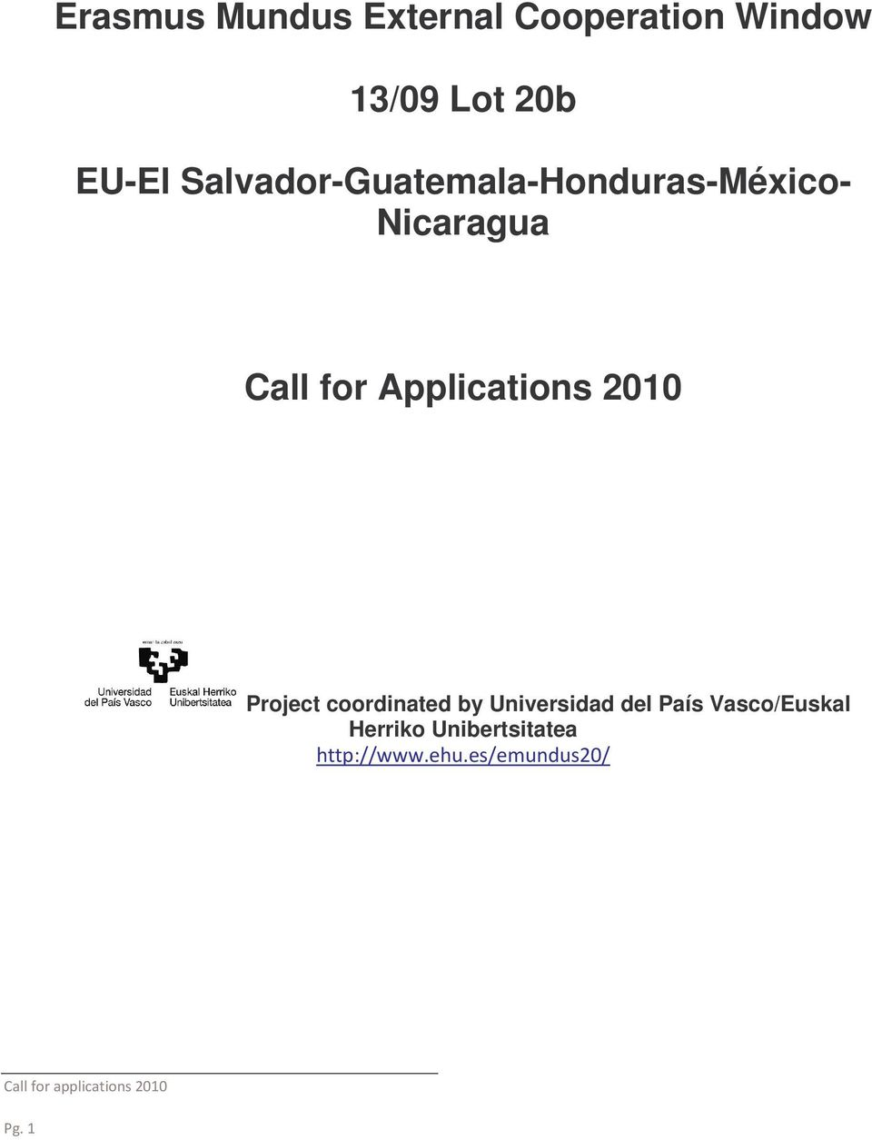 Nicaragua Call for Applications 2010 Project
